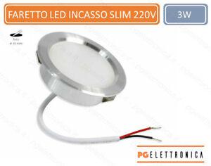 Faretto led 3 watt ad incasso rotondo 6500k 3000k 4000k  opaco con bordo argento