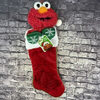 Sesame Street Elmo in Santa Cap & Green Gloves Plush Holiday Stocking