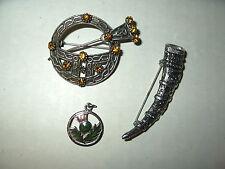 3 Vintage Silvertone Topaz-Purple Celtic Scottish Thistle Kilt Pins & Pendant