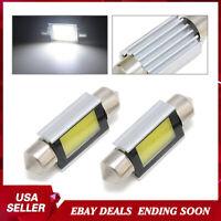 2X Super White Xenon 36mm Car COB LED License Plate Light 6418 C5W 4W Bulb 12V