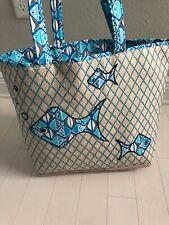 Vera Bradley GO FISH BLUE Seashore Tote Beach Bag New with Tags