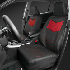 Front Car Seat Cover Motor Trend Red/Black PU Leather Sideless Set Truck SUV Van