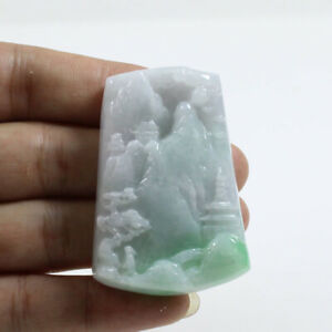 "Certified ""A "" Natural Emerald Green Jadeite Jade Gems Pendant Landscape 山水Z3404"