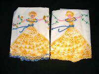 Vintage Set of Hand Embroidered & Hand Crocheted Pillowcases