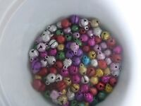 20 Frosty Metallic Jingle bells mixed colors 8 mm x 12 mm Party Hats Christmas.