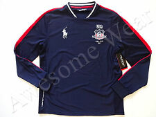 New Ralph Lauren Polo SPORT Navy Polyester USA Long Sleeve Jersey Shirt sz L