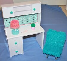 Paradis Kids White Doll Desk with Blue Chair & Lamp Fits American Girl Dolls