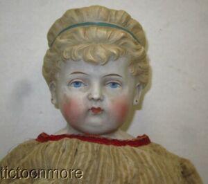 ANTIQUE GERMAN PARIAN SHOULDER HEAD DOLL BLONDE EARRINGS HEADBAND KID BODY