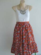 Boho women High waist Mid Red Floral skirt quality fabric (Bohemian yet elegant)