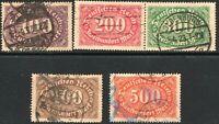 Germany 1922 set watermark lozenge used SG230/231/232/233/234 (5)