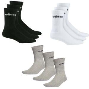 Adidas Mens Womens 3 Pairs Crew Socks HC Cushioned Sports Casual Black White