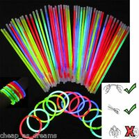 """100 x 8"""" Glow Sticks Bracelets Necklaces Neon Colours Party Favors Rave Disco"""