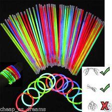 """100 x 8 """"glow sticks bracelets colliers couleurs FLUO DISCO RAVE Parti Faveurs"""