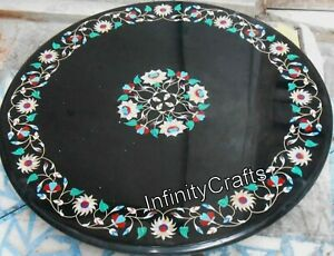Multi Color Stones Inlaid Marble Center Table Top Round Coffee Table 30 Inches