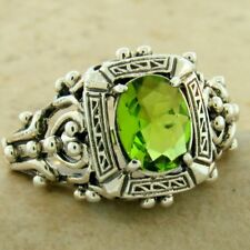 VICTORIAN ANTIQUE STYLE 925 STERLING SILVER 1 CT SIM PERIDOT RING SIZE 9,  #1144