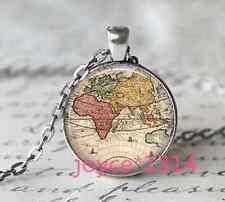 Vintage World Map Cabochon Tibetan silver Glass Chain Pendant Necklace#1182
