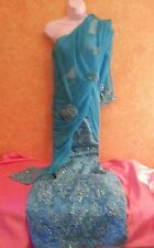 Turquoise Blue Bead Lace Stretch Sheer Mesh Sari Saree Wrap Skirt Dress Bridal