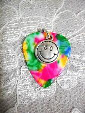 RAINBOW GUITAR PICK SMILEY FACE DISC PENDANT NECKLACE