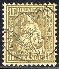 SWITZERLAND #68 Used - 1881 1fr Gold, Granite Paper
