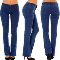 Womens' Bootcut Mid Rise Waist stretch Jeans Trousers Blue Sizes UK 6 -14