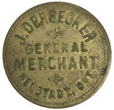 c. 1896 NEUSTADT, ONTARIO CANADA 50 CENTS JOHN DERBECKER GENERAL MERCHANT TOKEN