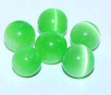 6 Stück Glas Perlen Katzenaugen 10mm Perle Kugeln rund grün Schmuck Basteln F065