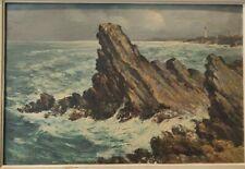 Georges GUERIN XXe Tableau HUILE sur ISOREL signe Vagues rochers bretagne art 13
