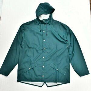New RAINS Short Jacket Coat Waterproof in Dark Teal Size L/XL