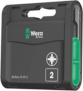 Wera Bit-Box 20 H PZ2 Extra Hard bits for drill/drivers, 25mm, 20pc pack