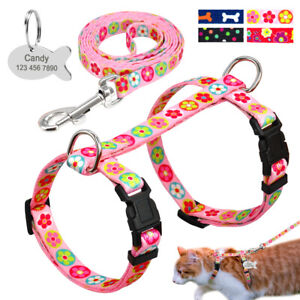 Floral Pet Cat Harness and Leash set Strap Walking Vest with Personalized ID Tag