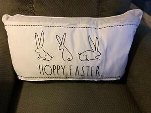 RAE DUNN new Spring Hoppy Easter Bunny Rabbits FAMILY pillow (100% Cotton)