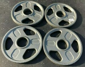"""5 lb Olympic Weight Plates. 20 lb total. WEIDER 2"""" GRIP PLATE- PROMPT SHIPPING"""