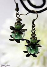 Glass Jewels Bronze Ohrringe Ohrhänger Vintage Lampwork Perlen Grün #I057