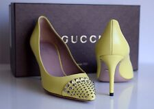 GUCCI Damen Schuhe Pumps STUDDED PLANTATION LEATHER SILVER METAL mimosa Gr. 37,5