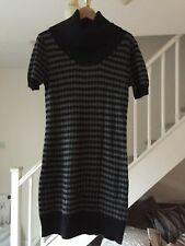 NEW LOOK LADIES BLACK AND GREY PATTERNED POLO NECK JUMPER DRESS SIZE 8