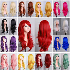 Full Wig Long Hair Curly Wave Straight Synthetic Hair Blonde Ombre Color Dhfo5