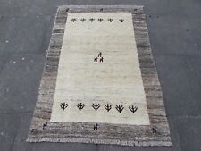 Old Hand Made Traditional Persian Rugs Oriental Beige Wool Gabbeh Rug 150x105cm