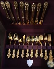 National Stainless Gold Plated Casbah Japan 42 Pc set Flatware Silverware Chest*