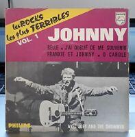 RARE EP Pochette papier  Johnny Hallyday- Les Rocks Les Plus Terribles Vol.1