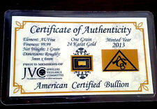 (x3) ACB 1GRAIN 24k FINE Gold 99.99 Pure Bullion Bars Certificate Authenticity $