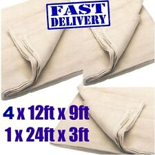 "5 PACK COTTON TWILL WOVEN DUST SHEET 12"" x 9""  INCLUDES 24"" x 3"" STAIRCASE"
