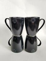 4 ONEIDA STONEWARE RENAISSANCE BLACK SCROLL DESIGN COFFEE MUGS EUC