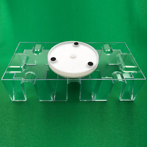 Playing Card Holder Clear Plastic Tray 9 Deck Revolving Rotating Base 3 Slots
