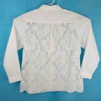 City Chic Size S / 16 White Blouse Long Sleeve w Lace Back Collared Button Up