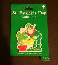 Vintage Leprechaun Gibson Button Lapel Pin Figural St Patricks Day Irish Nos