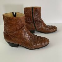 RUDEL ROGERS Full Alligator Western Cowboy Leather Boots Brown Mens Size 7E