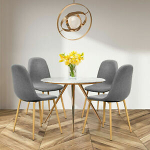 4X Dining Chairs Set Padded Seat Metal Leg Kitchen Chair Living Room Home Office