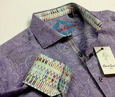 Robert Graham Men Vintage Paisley Patterned Purple Jacquard Sport Shirts Small