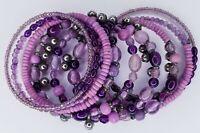 Handmade Boho Purple Pink Silver Tone Beaded Wrap Memory Wire Bracelet Festival