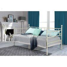 3ft Single Day Bed Scrub Metal Guest Bed Frame Sofa Bed Solid Metal Slat Beige